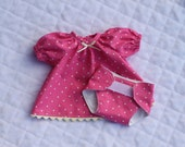 "12"" Doll Clothes - Two-Piece, Doll Dress with Matching Diaper, Pink Polk-a-Dot, 100% Cotton"