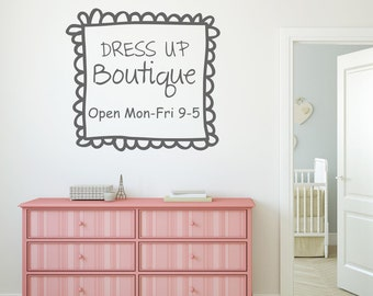 Girl Playroom Wall Decal Dress Up Boutique - Girl Playroom Vinyl Lettering Wall Words Decal Doodle Frame Border Girl Bedroom Decal