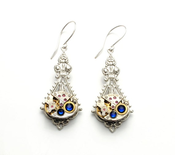 SEPTEMBER Steampunk Earrings, SAPPHIRE BLUE Steampunk Earrings, Vintage Watch Earrings, Steampunk Wedding Jewelry by Victorian Curiosities