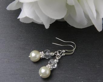 Bridesmaid earrings, ivory pearl earrings, crystal earrings, ivory wedding earrings, wedding jewelry, bridemaid gift, ivory earrings