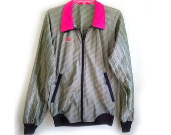 Vintage Windbreaker Retro Jacket Striped Green with Fluorescent Bright Pink Collar and Black Detailing Trek Wear Athletic Fitness Zip Up
