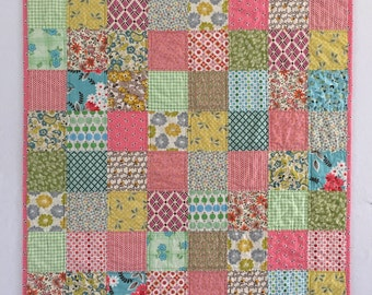 Pretty Pink Patchwork Modern Baby Girl Quilt - Ready to ship!
