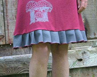 Hand Made Amanita Mushroom Screen Print Ruffle A Line Skirt Red & Gray Organic Cotton Soy Spandex French Terry