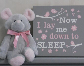Baby Girl Nursery Decor Sign - Now I Lay Me Down To Sleep
