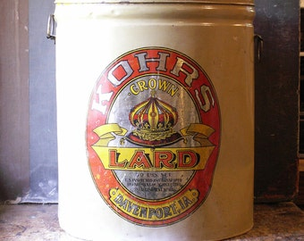 Vintage General Store Kohrs Crown Lard Tin - Great Retro Holiday Decor!
