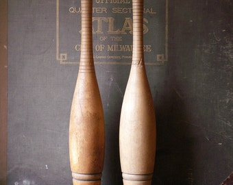 Vintage Pair of Indian Juggling Pins - 1 1/2 Pound Clubs