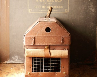 Vintage Hardboard Pet Carrier Suitcase with Leather Straps and Peek-a-boo Window