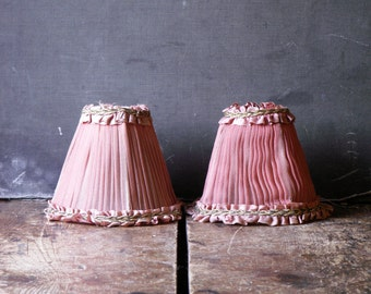 Vintage Pair of Tiny Pink Pleated Tulle Lamp Shades with Gold Detailing