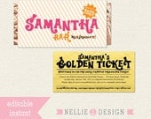 Editable WILLY WONKA Chocolate Bar Wrapper, Golden Ticket Invite & Address Wrap - Instant Download
