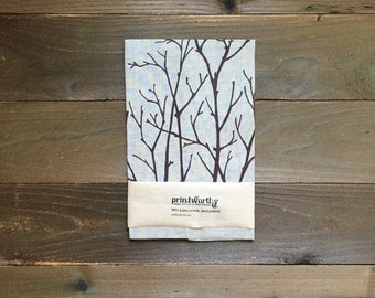 Tea Towel, Linen Dish Towel, Branches Design, Screen Printed Kitchen Towel