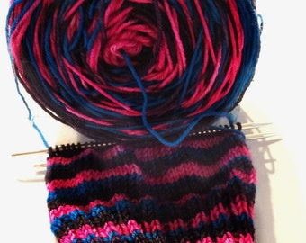 Self Striping Yarn, Sock Yarn, Hand Dyed, Merino,
