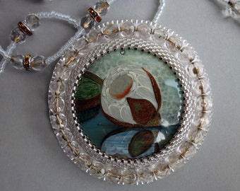 FREE SHIPPING Hand painted stone   Pendant water lily 3