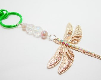 Dragonfly Keychain Rhinestone Bug Key Chain Clear Aurora Borealis Beads Peach Glass Beads 203