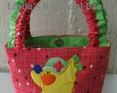 Little Girls Colourful Bag with Easter Chick Applique Design