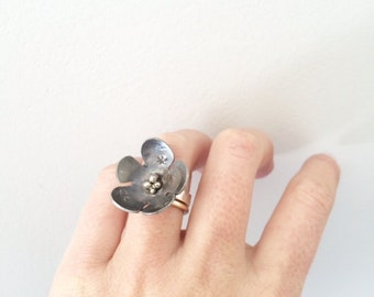 flower ring large cocktail ring oxidized sterling silver cherry blossom jewelry