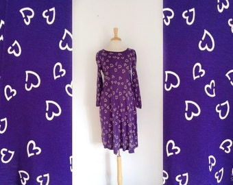 1970s Diane von Furstenberg designer purple and white hearts print long sleeve  Pullover dress size medium