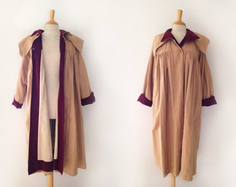 Vintage designer Marie Pierre tattarachi of france  smocked trench coat, size small or medium