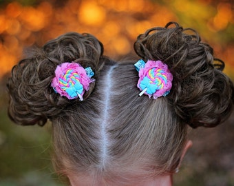 Lollipop pig tails - Lollipop clips - Lollipop Birthday - Lollipop - Candy clips - Candy bows - Candy party - Candy headband