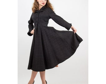 1950s Princess coat / Vintage black faille new look era  coat dress / S M