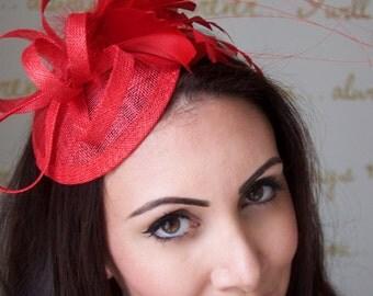 Red Mini Fascinator - Arianna Mini Red Mesh Derby Fascintor