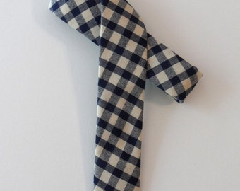 Plaid Skinny Tie in Blue, Ivory // Homespun Cotton & Silk Necktie