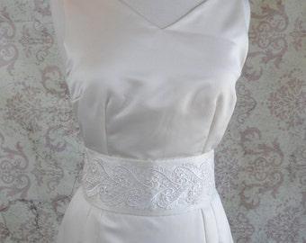 1920s Lace & Raw Silk Bridal Sash Belt // Ivory, Tassels