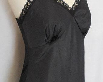 Lady Manhattan Black Nylon lace Full Slip 1960s