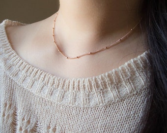 Delicate Minimal Necklace . 14k rose or yellow gold filled satellite chain . layering necklace . simple everyday minimal jewelry
