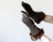 1930s vintage gloves / brown suede and fur lined gloves / John Wanamaker