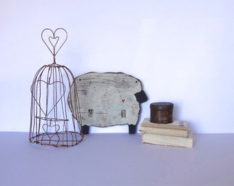 Vintage Rustic Wire Cage with Hearts, Home Decor and Garden
