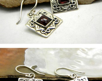 Garnet earrings, sterling silver dangle earrings, antique style spiral design gemstone earrings, garnet jewelry, January birthstone,