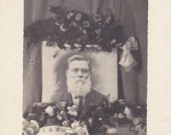 Remember Edgar- 1900s Antique Photograph- Memento Mori- Edwardian Memorial- Funeral Flowers- Real Photo Postcard- AZO RPPC- Paper Ephemera