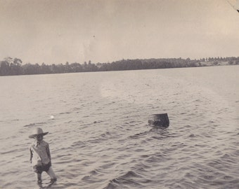 Clamming- 1910s Antique Photograph- Clam Hunter- Edwardian Boy- Straw Hat- Found Photo- Vernacular- Swimming in Lake- RPPC- Paper Ephemera