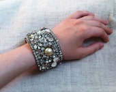 SALE Handmade One Of A Kind Statement Cuff Bracelet Rhinestone And Pearl Encrusted Upcycled Vintage Jewelry Bridal Bride Wedding