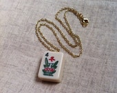 Mahjong Necklace Handmade OOAK White Bakelite Number 4 Flowers Asian Game Piece Tile Jewelry Chinese Symbol