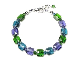 Swarovski Crystal Silver Bracelet & Earrings Mini Square Bead Mermaid Jewelry Tanzanite Purple Indicolite Blue Fern Leaf Green Women's Gift