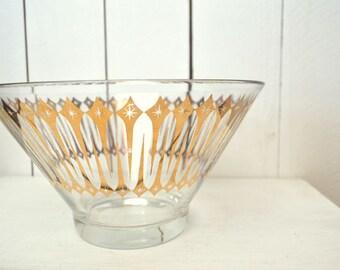 Atomic Glass Punch Bowl 1950s Vintage Gold Starburst Striped Chip Dip Salad Bowl