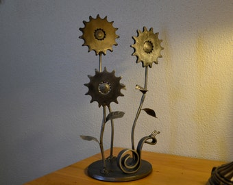 Steel Sculpture, Flowers and Snail, Home and Office Art, Gift For The Gardener