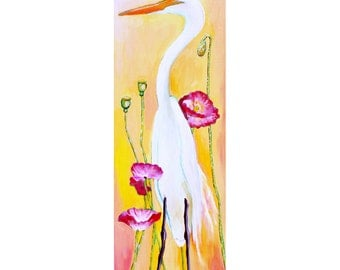 Egret & Poppies, GREETING CARD - egret painting, pink and yellow, poppy painting, bird art