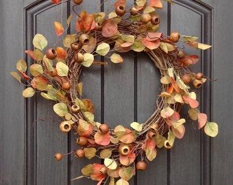 Fall Wreath-Autumn Wreath Artificial Foliage- Wispy Twig-Holiday Wreath-Grapevine Door Decor-Fall Decor-Fall Leaves-Wispy-Unique