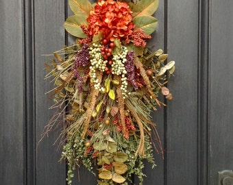 Spring Summer Fall Wreath-Teardrop Wreath- Vertical Door Decor- Swag Decor Use Year Round Orange Hydrangea Feathers Wispy