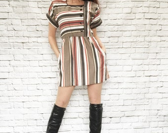 Vintage 80s Striped Mini Dress Brown Red Black Cuff Sleeve Offset Buttons M Pockets