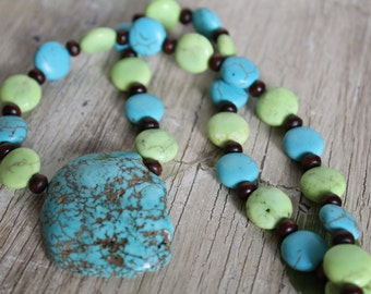 Blue and Pale Lime Green Magnesite (Resembles Turquoise) Stone Pendant Necklace with Wood / Chunky Necklace / Gifts for Her / Unique / Boho