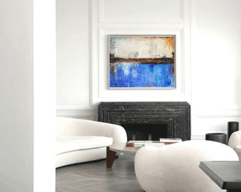 Painting nice  large abstract painting blue , creme  acrylic painting, wall art by Jolina Anthony