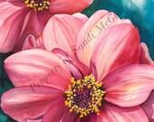 """Watercolor Print """"Dahlias"""" by Sandi McGuire"""
