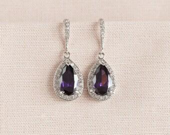 Crystal Bridal earrings  Wedding jewelry, Swarovski, Crystal Wedding earrings, Bridal Jewelry SET,  Ariel Purple Drop Earrings