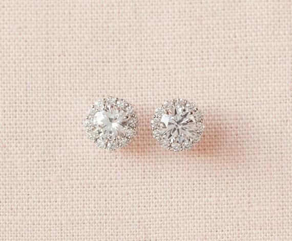 Crystal Stud Earrings Bridal Earrings Wedding Bridesmaids, Small and Dainty, Silver Tone, Rose Gold Tone, Small Crystal Stud Earrings