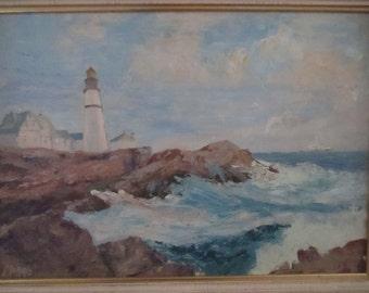 Vintage Original Seascape Lighthouse Coastline Rocky Shores Water Ocean Views Nautical Beach Decor Signed Morris Wood Frame Oil Painting Art