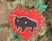 Buffalo - Southwestern - Heart  w/ Arrow Painting - Christmas Ornament - Original Folk Art - Cathy DeLeRee