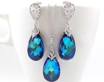 Bermuda Blue Jewelry Set, Wedding Swarovski Crystal Bridal Necklace and Earrings Set, Peacock Blue Teardrop Bridesmaids Gift